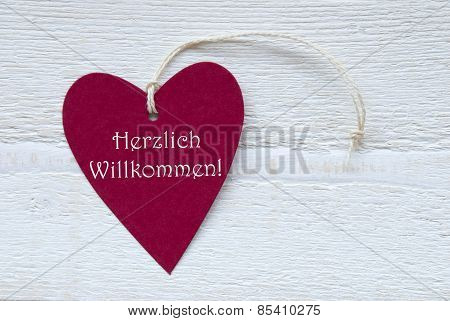 Red Heart Label With German Text Herzlich Willkommen Means Welcome