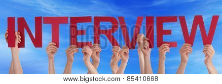 Many People Hands Holding Red Straight Word Interview Blue Sky