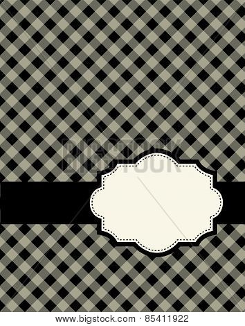 Black Gingham / Squares Background With Frame