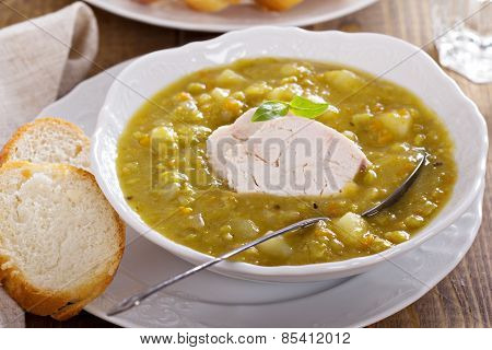 Hearty chicken split pea soup