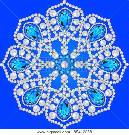 Elegant Background With Circular Ornament Of Precious Stones