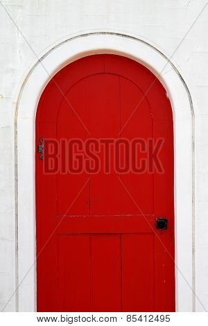 old wooden red door