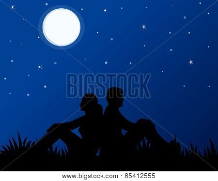 Couple In Love At Night