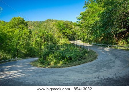 180 degree curve of the mountain road