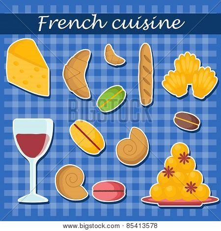 Set of cartoon french food stickers