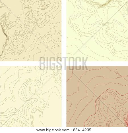 abstract topographic map set