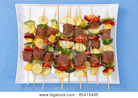 Tasty Meat And Vegetable Kebabs For The Bbq