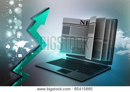 3d online news concept