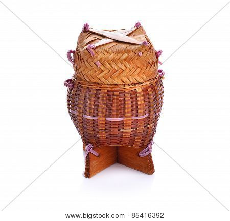 Bamboo Wooden Rice Box Call Kratib Rice In Thailand