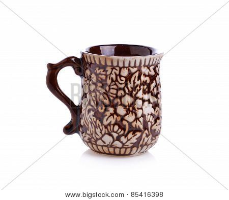 Brown Coffee Cup On White Background With