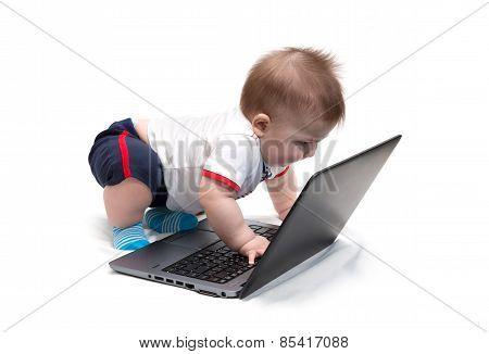 Little Baby Using Laptop