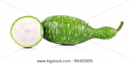 Slice Half Calabash, Bottle Gourd On White Background