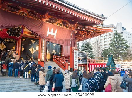 People Visit Senjoji Temple In Japan