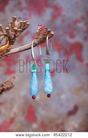 Close Up Of Chalcedony Earrings