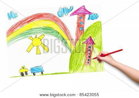 house in the village. child drawing.