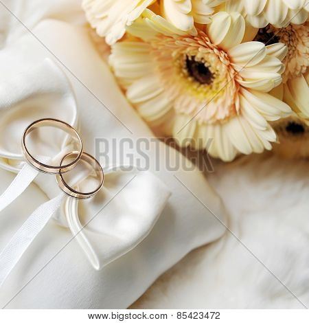 Cushion With Wedding  Rings