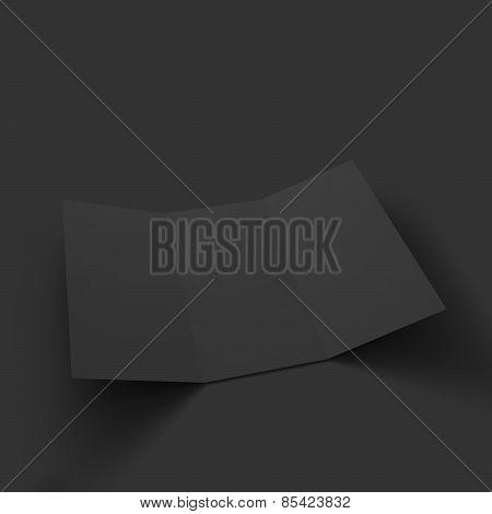 Blank tri fold paper brochure mockup.