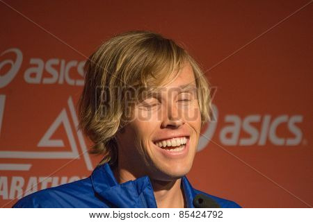 Ryan Hall , American Marathon Runner Attends A Press Conference