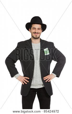 happy young man with hat, isolated over white background