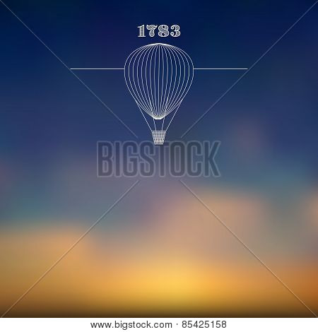 Blurred Sky Background With White Air Balloon Line Art