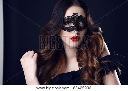 Gorgeous Woman With Dark Hair And Blue Eyes, With  Mask On Face