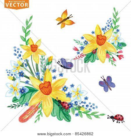 Watercolor Spring Flowers Group Set