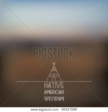 Blurred Foggy Landscape Background With Wigwam Line Art