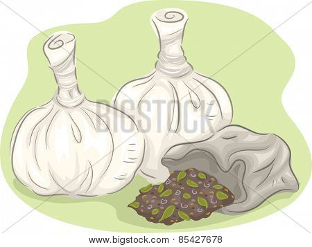 Illustration of a Group of Open and Unopened Poultice