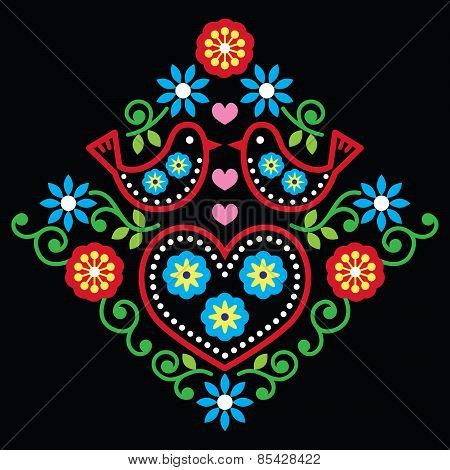 Folk art floral vector pattern on black