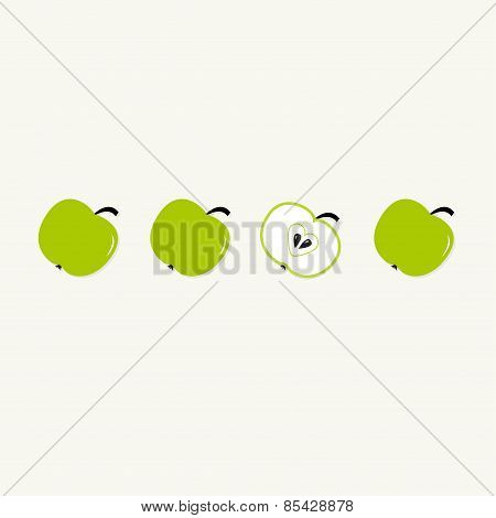Green Apple Set In A Row. Whole And Half With Heart Seed. Healthy Lifestyle Background. Flat Design.