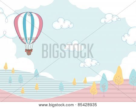 Illustration of a Hot Air Balloon Hovering Over a Field