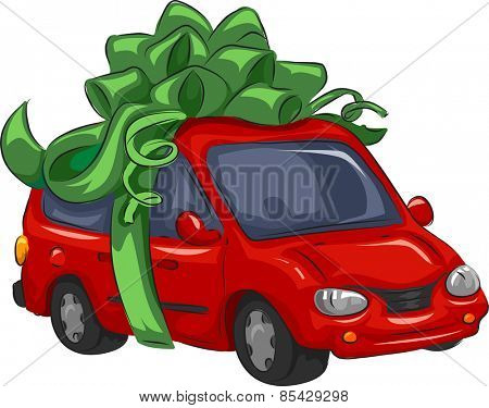 Illustration of a Mini-Van Wrapped as a Present