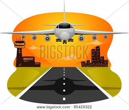 Illustration of a Commercial Airplane Preparing to Land