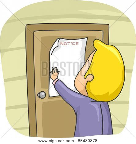 Illustration of a Man Posting a Notice on the Door of His House