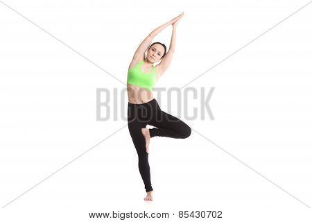 Bending In Vrikshasana Yoga Pose
