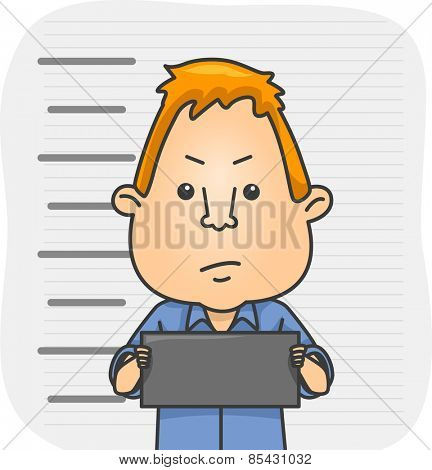 Illustration of a Man Holding a Placard Having His Mug Shot Taken