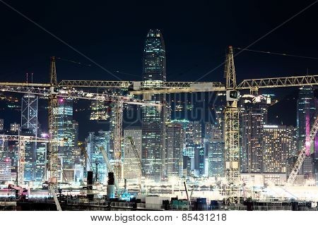 Night View Of Construction Site In Hong Kong