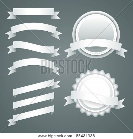 Set of white paper ribbons, labels and badges