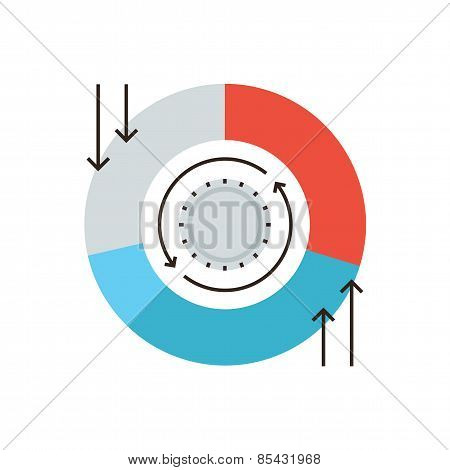 Cash Flow Chart Flat Line Icon Concept