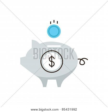 Accumulating Money Flat Line Icon Concept