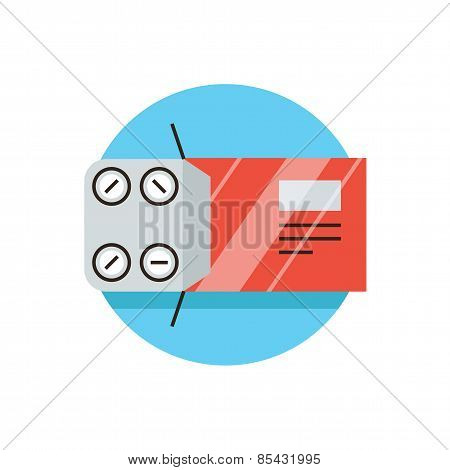Blister Pack Flat Line Icon Concept