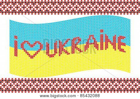 Illustration Of Embroidered Ukrainian Flag
