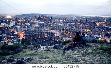 Couple on hill in Edinburgh