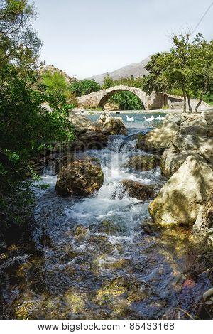 Bridge over mountain river.