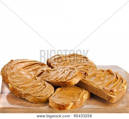 peanut butter sandwich and peanuts isolated on white background