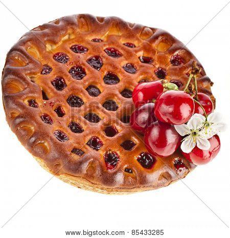 Closeup cherry cake-pie isolated on white background