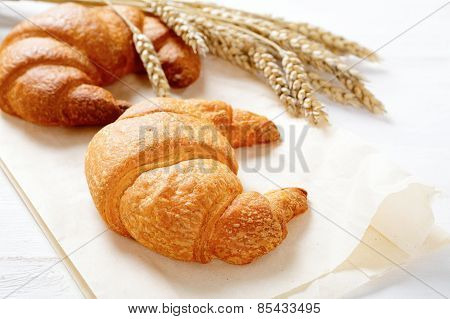 Crispy Croissants With Spikelets Of Wheat