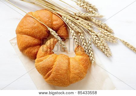 Crispy French Croissant With Spikelets Of Wheat