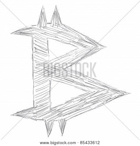 Pointed Bitcoin Symbol Drawing
