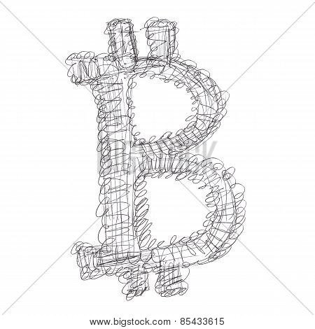 Entangled Bitcoin Symbol Drawing